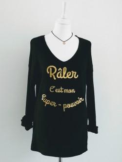 T.shirt râler c'est mon super pouvoir 1 l La mode au fémin vêtements prêt à porter femmes originaux dernières tendances