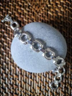 Bracelet Ciclon femme plaqué argent brillant Collection Cube PM |Vue ouvert | Tilleulmenthe Boutique de mode femme