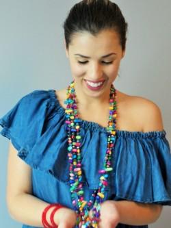 Sautoir perles multicolores l Vue portée l Tilleulmenthe mode en ligne