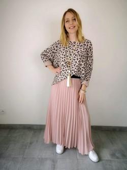 Jupe longue plissée soleil rose uni poudré taille élastiquée noire | Vue portée | Tilleulmenthe Boutique de mode femme