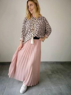 Jupe longue plissée soleil rose uni poudré taille élastiquée noire | Vue cotée gauche | Tilleulmenthe Boutique de mode femme