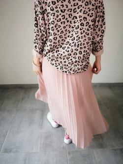 Jupe longue plissée soleil rose uni poudré taille élastiquée noire | Vue de dos | Tilleulmenthe Boutique de mode femme