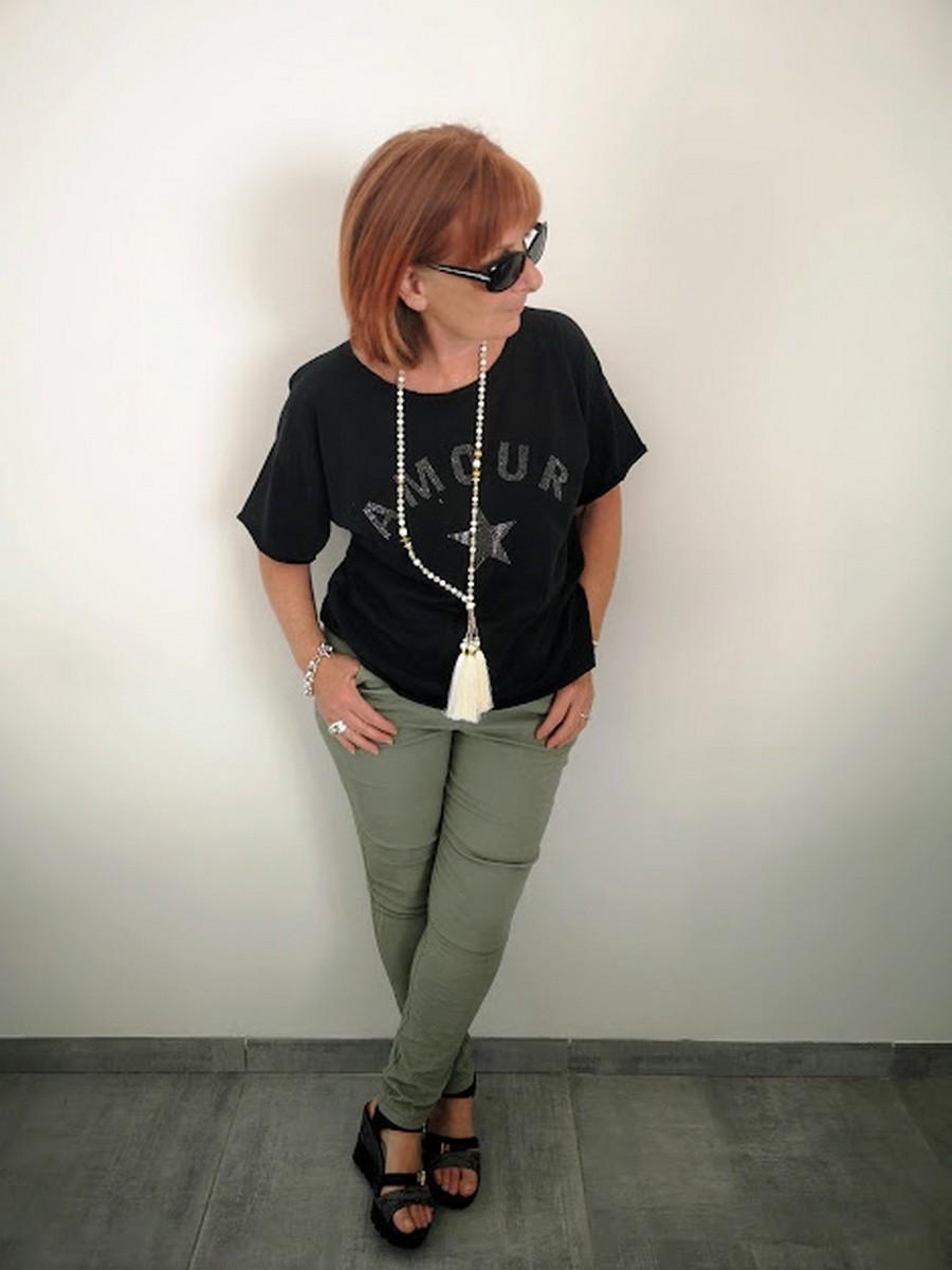 Pantalon couleur kaki l 1 vue de face l Tilleulmenthe boutique de mode femme