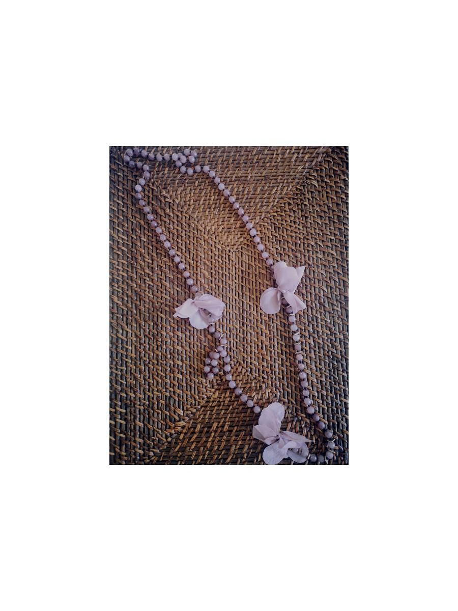 Sautoir fleurs couleur vieux rose l 1 vue sautoir seul l Tilleulmenthe boutique de mode femme